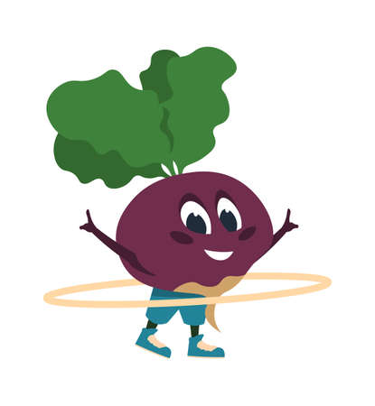 Cartoon beet doing fitness activities. Vegetable talisman twisting hoop. Sport exercise and workout. Aerobics or gymnastic training. Diet and health active lifestyle. Vector cute mascot illustration