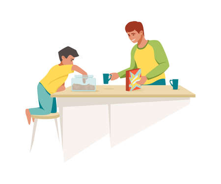 Dad and son have breakfast together. Cartoon father gives boy muesli and biscuits, family morning meal in kitchen. Parent and child relationship, cozy home isolated scene, vector flat illustration