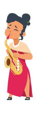 Cartoon girl playing sax. Cute woman with musical instrument, female in red dress and saxophone. Jazz singer performance. Shop and festival event advertising template. Vector hobby flat illustration