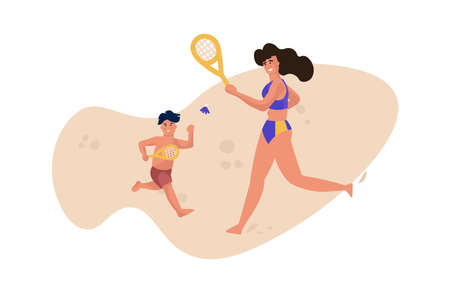 Family beach activity. Mother and son playing on send, cute people in swimsuits playing tennis. Cartoon woman and child resting at seashore. Sport, leisure and recreation, vector isolated illustration