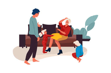 Family conflict. Couple quarrel at home, mother and father shouting with children. Kids suffer from parental dissolution, problems in relationship. Vector partners disagreement isolated illustration Illusztráció