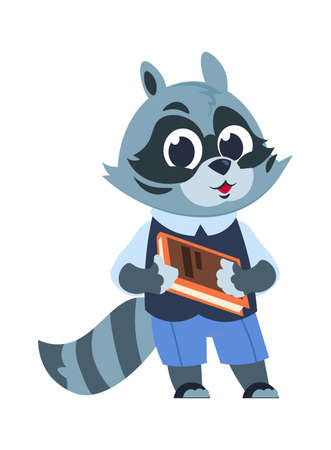 School raccoon character. Cartoon animal kid with book, little forest citizen reading textbook. Cute advertising template for publications, children clothes or stationery. Vector isolated illustration