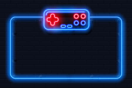 Neon game background. Realistic videogame frame. Square shape with joystick, control buttons, contour controller and copy space. Computer gamers tournament template. Vector play console illustration