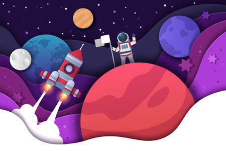Paper cut spaceman. Cartoon kid background with astronaut rocket and planets. Cosmonaut discoverer sets flag on space object, universe cutout banner template. Vector origami cardboard illustration Illusztráció