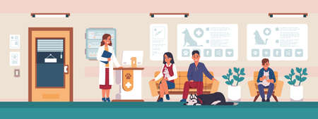 Veterinary. Cartoon people with sick pets in clinic office waiting for doctor, animal hospital visitors. Vet medicine and healthcare concept, vector scenery with cat and dog owners on reception Vecteurs