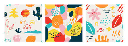 Contemporary shape pattern. Seamless abstract doodle modern square collage for social media posts and stories. Bright colorful organic forms leaves and flowers vector trendy cute geometric texture set