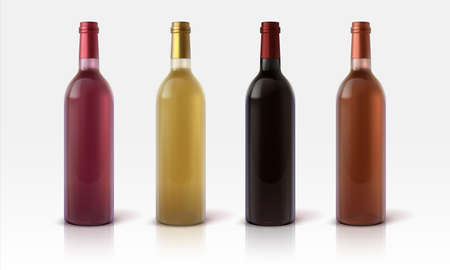 Wine bottles. Realistic mockup of glass container for alcoholic beverages, 3D green red and yellow grape juice drinks. Blank vessel for branding, product advertising template, vector isolated set Illusztráció