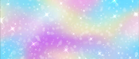Fantasy background. Rainbow unicorn sky texture with glitters and magic colorful pink and purple gradient with glowing stars. Mermaid and galaxy decoration brilliant effect vector horizontal banner Illusztráció