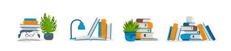 Stack of books. Science encyclopedia and culture education, cartoon piles of textbooks for teaching and home study. Compositions of publications with indoor flowers and drinks. Vector literature set