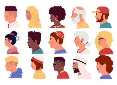 People profiles. Cartoon portraits of diverse people, young and old men and women of different nationalities. Cute human face sides, isolated avatars templates. Vector male and female heads flat set