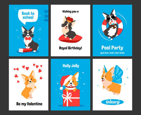 Corgi greeting card. Posters and invitations with cute puppy, cartoon dog characters on banners. Smiling animals with comic emotions, funny celebration text and holidays wishes. Vector postcards set Illusztráció