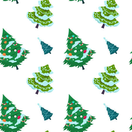 Christmas tree pattern. Seamless print of New Year fir and spruce decorated with garlands and snow. Winter evergreen plant template for textile, holiday wrapping paper. Vector conifers background
