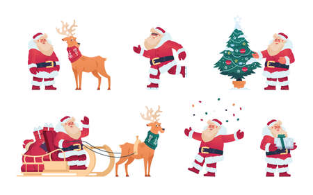 Cartoon Santa Claus. Cute Christmas character with presents, reindeer with sleigh, fir tree decorated with garlands. Winter holiday template for greeting cards, New Year posters. Vector December set