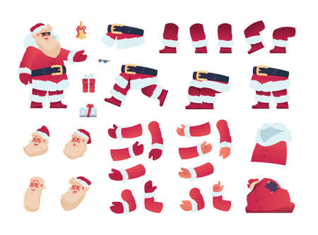 Santa Claus kit. Christmas character animation constructor, moving arms and legs, combination of head, torso and limbs. Xmas grandfather with bag and presents. Vector celebrative elements isolated set