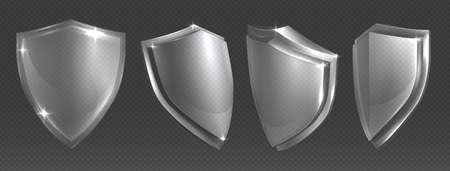 Transparent shield. Protective glass shields various angles or acrylic blank security panel, military or heraldic sign shape design template, vector trophy, power and safety shiny symbol