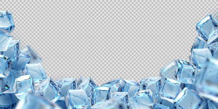 Ice cube background. Realistic transparent freeze water blocks, 3D frame for advertising of cool beverage, alcohol drink, cocktails. Vector bunch of volumetric glacial squares template with copy space Stock fotó