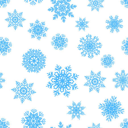 Snowflakes pattern. Christmas decorative seamless texture. Blue ice crystals, snowy silhouettes for textile and greeting cards, New Year wrapping paper template. Vector winter ornamental background