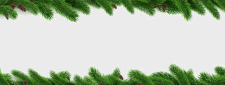Fir branch border. Pine tree Christmas decoration frame isolated on white background, realistic 3d horizontal pattern, winter holiday celebration pine decor elements vector botanical illustration