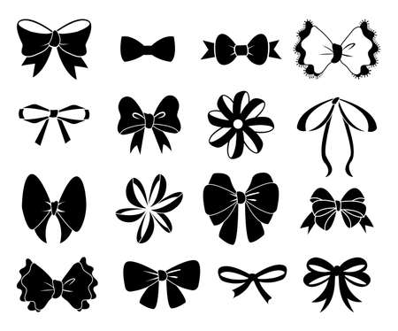 Black bow. Flat ribbons for birthday greeting cards and invitations. Black bows silhouettes, ribbon for present boxes packaging. Xmas decoration collection holiday vector isolated graphic elements set