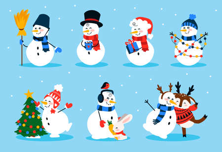 Cute snowman. Cartoon winter Christmas character collection of funny snowmen wearing gloves hat and scarf. Winter symbol in different costume with fir tree, deer and rabbit vector isolated holiday set