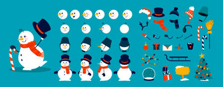Snowman animation kit. Christmas character construction elements, combination of heads, body and arms in different poses. Winter hats, scarves or objects decorating snow figure. Vector celebration set Illusztráció