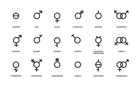 Gender line icons. Sexual orientation sign. LGBT symbols of hetero and homo couples, female, male or unisex, asexual people. Contour identity emblems. Vector discrimination or tolerance mark set