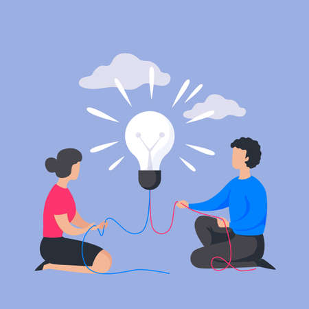 Business people concept. Cartoon man and woman with light bulb. Brainstorming banner, corporate project management or insight in teamwork communication process. Vector flat company partnership