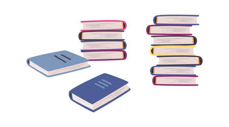 Cartoon books. Stack of blue cover book collection, pile of encyclopedias and dictionaries for studying at home and library knowledge and wisdom symbol vector textbook isolated on white background set