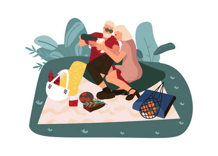 Adult couple eating outdoors and spending time together. Cartoon people at picnic sitting on grass, romantic date in nature. Isolated man and woman relaxing in park. Vector weekend flat illustration