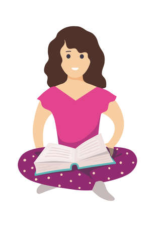 Girl with book. Female character sitting on floor and read, schoolgirl with textbook, smart student girl study knowledge, people self education and hobby vector cartoon isolated reader illustration