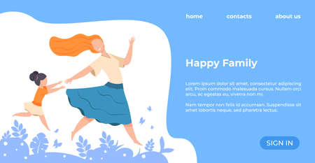 Happy family landing page. Web site with young woman and little girl, interface with headline and buttons, copy space. Events for spending time with children, weekend recreation, vector healthcare image