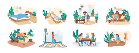 Woman daily. Morning and everyday routine of young female character, work and leisure activity, hobby and meeting with friends. Scenes of usual life of girl in city. Vector lifestyle isolated set