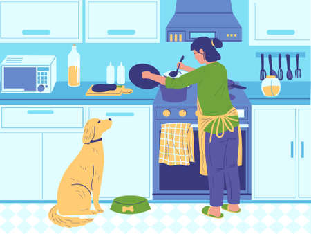 Home cook. Cartoon woman cooking breakfast or dinner for family, homemade food preparing. Female in kitchen with dog, cuisine furniture and electronics. Vector usual life routine flat illustration
