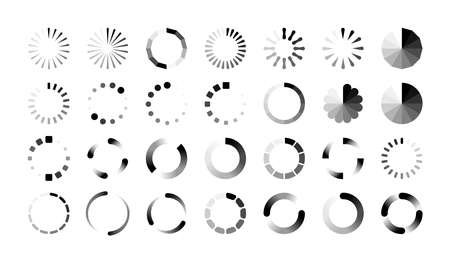 Loader icons. Round progress bar, buffering and data transfer process sign. Black web marks on white background. Collection symbols of upload and download or reboot. Vector loading flat isolated set