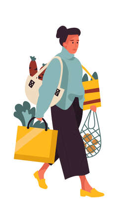 Woman with shopping bags. Cartoon young female walking from greengrocer store. Heavy handbags of food, buying fruits and vegetables. Cozy clothes for making purchase. Vector shop customer illustration