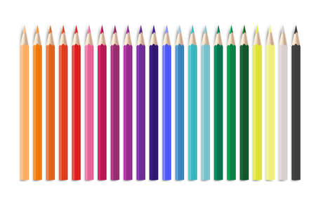 Realistic colorful pencil. 3d office or school items arranged in line by colors, bright rainbow creative childish wooden tools, stationery for painting and arts vector isolated illustration on white