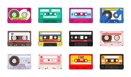 Retro music cassettes. Realistic old school sound record technology. 90s and 80s disco party and entertainment. Audio recording tape in colorful plastic body. Vintage decoration, vector media set Иллюстрация