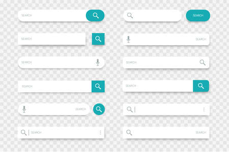 Search bar. Collection of input lines with find buttons, magnifier and microphone icons. Browser interface option, web site or mobile application element on transparent background. Vector template set