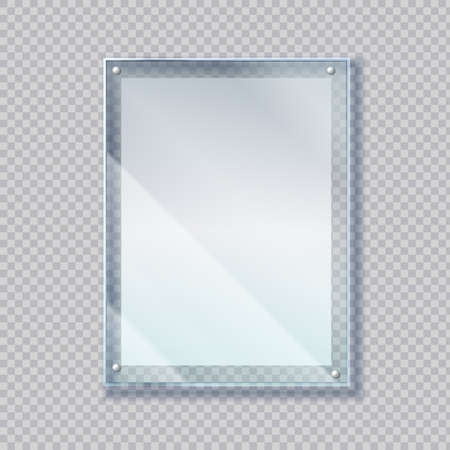 Realistic poster in glass frame. 3D empty acrylic banner on wall. Blank sheet of paper under plastic protective screen. Picture border template on transparent background. Vector advertising mockup