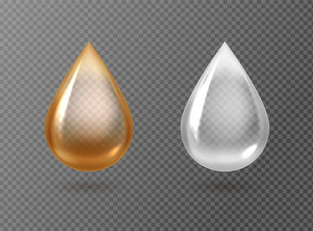 Realistic oil and cream drops. Golden and white droplets isolated on transparent background, gasoline petrol lubricant, machine grease drip, eco cosmetic fluid, serum or capsule, liquid. Vector 3D set