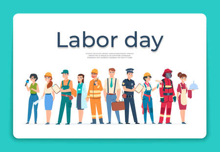 Labor day greeting card. Group of workers of various professions and specialists. Cartoon engineer and policeman, waiter and firefighter or doctor. Employees celebrate holiday, vector illustration