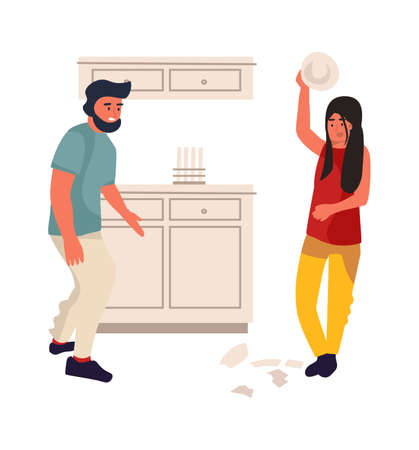 Family conflict. Cartoon young couple quarrels. Wife and husband relationship disagreements. Woman beats dishes in kitchen. Vector partners emotional conversation with scream and broken tableware Çizim