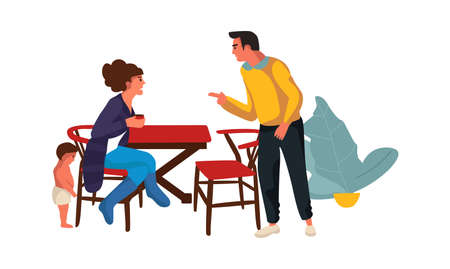 Family during quarrel at home. Cartoon parents swearing and shouting. Conflict between wife and husband, child suffer from parental dispute. Vector problems in relationship isolated illustration