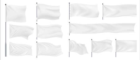 Realistic banner flags. 3D white blank textile signs and waving fabric for advertising. Isolated horizontal chrome steel stands hold empty canvases. Templates for logo and emblem, vector pennant set