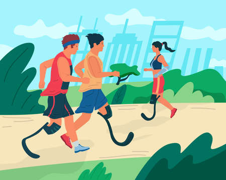 Handicapped people. Cartoon disabled persons training. Men and women with limb injuries doing sport exercises and running in city park. Disabilities and active lifestyle, vector colorful illustration