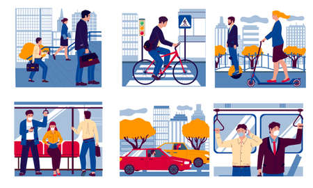 People in transport. Realistic men and women moving to work on foot, in bus or underground carriage and driving car, bicycle or scooter. Urban vehicle, vector city transportation scenes flat set Vettoriali