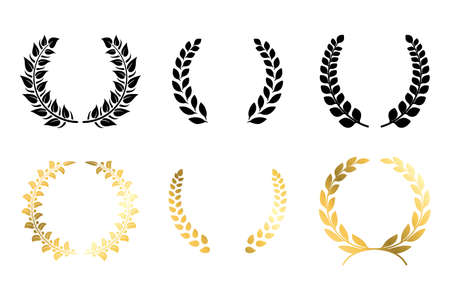Laurel winner labels. Golden and black luxury badge. Greek or Roman traditional triumph branches. Champion medal mockup with copy space. Award ceremony nomination template. Vector wreaths icon set