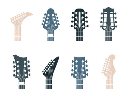 Guitars headstock logo. Realistic modern or retro parts of string instrument. Contour acoustic or electric necks signs. Isolated musical equipment shop advertising template, vector minimalist set