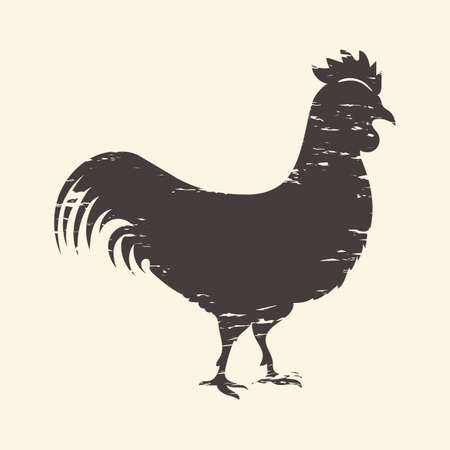 Rooster silhouette. Realistic chicken profile. Isolated logo mockup. Butcher shop advertising. Emblem template for poultry farm or products from bird meat and eggs. Vector hen flat illustration