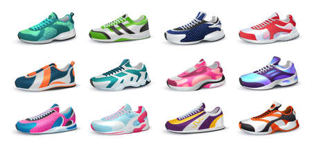 Various realistic sneakers. Colorful footwear. Isolated collection of modern sport shoes for fitness training, jogging and everyday wearing. Shop advertising, logo template. Vector casual clothes set Vettoriali